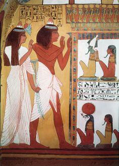 Sennedjem & woman before gods / Egyptian wall painting Egyptian, New Kingdom, 19th Dynasty, time Seti I