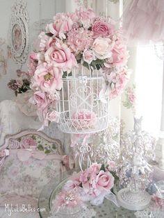 pink crystal prism & rose birdcage