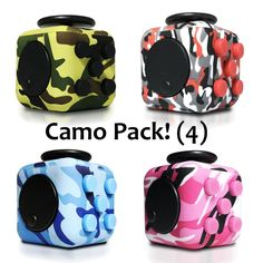 Packs - OMG Fidget Cube Camo Pack Fidget Cube, Camo, Gadgets, Packing, Backpacks, Children, Red, Blue, Camouflage