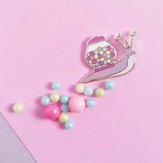 Dream Big Snailicorn - Snail Unicorn - Bubblegum Machine -  Enamel Pin