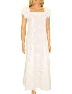 076556d052c Long Ruffle Muumuu Dress Loulu Palms Cotton Fabric Color  White Sizes  S -  XL ...