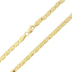 """10k Yellow Gold 2.6mm Diamond-Cut Hearts Chain Anklet - 10"""""""
