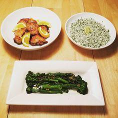 Citris brine chicken, cilantro lime rice, and garlicky brocolini. #dinnerathome  Reposted Via @rizzysfoodanddrinkposts