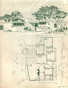 house This house plan is from this old tattered book called quot;The Small Home of Tomorrowquot; by Paul R. Williams AIA, from 1945 I got a few years ago. The initials by the rendering stand for Frank W. Vintage House Plans, Modern House Plans, House Floor Plans, Vintage Homes, Mcm House, Architectural Prints, Architectural Sketches, House Drawing, Frank Lloyd Wright
