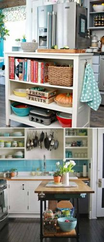 Top 21 Awesome Ideas To Clutter-Free Kitchen Countertops: Set up an island with open storage, the shelves inside of the island provide a place to stash cookbooks and kitchen items. Kitchen Items, Diy Kitchen, Kitchen Decor, Vintage Kitchen, Country Kitchen, Kitchen Utensils, Aqua Kitchen, Orange Kitchen, Condo Kitchen