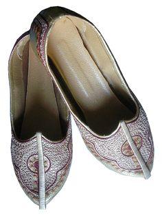 Men's Shoes Indian Leather Khussa or Punjabi Jutti Metallic Gold Burgundy | eBay