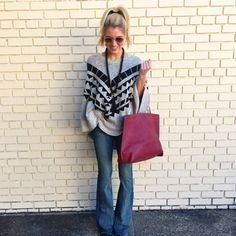 """""""It's all about aztec lately and this poncho makes the perfect comfy piece for your Fall wardrobe! - all about the aztec poncho $52 - raw edge flare jeans…"""""""