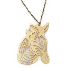 'TitiMadam' Brass Zebra Pendant £20 - Vintage clothing from Rokit - necklace, pendant, chain, zebra, jewellery