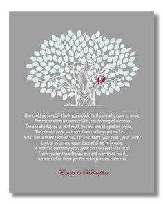 Wedding Gift for Parents from Bride and Groom by SarusWeddingTree, $25.00