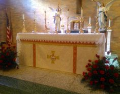 Antependium topped with a Lace Altar Cloth