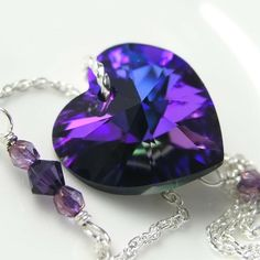 Purple Heart Necklace Sterling Silver by DorotaJewelry Purple Love, All Things Purple, Shades Of Purple, Deep Purple, Purple Hearts, Purple Stuff, Swarovski Heart Necklace, Swarovski Crystals, Crystal Necklace