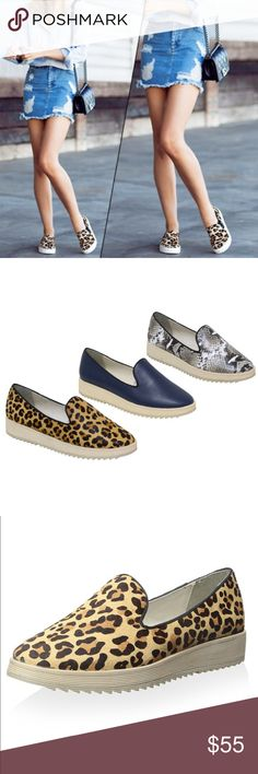 "Last One! Leopard Slip On Sneaker Espadrille Leopard Slip On Sneaker Espadrille. Snake print slip-on with grosgrain piping and a non-slip sole. Leather Imported. Synthetic sole Heel measures approximately 1"" Platform measures approximately 0.75"" Boutique Shoes Espadrilles"