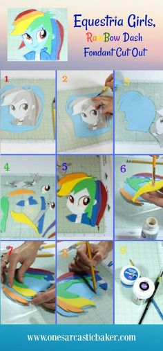 Equestria gilrs, My little pony cake. Including a tutorial for Rainbow dash 2D cake topper and striped buttercream cake.