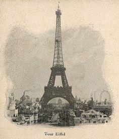Vintage Eiffel Tower Postcard - The Graphics Fairy