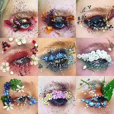 Nový trend ve světě make upu: Květinový Make up! Creative Makeup Looks, Unique Makeup, Cute Makeup, Pretty Makeup, Makeup Gothic, Fantasy Makeup, Aesthetic Eyes, Aesthetic Makeup, Eye Makeup Art