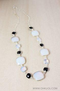 ON SALE White Opalite and Black Onyx Bib Necklace 925 by OhKuol