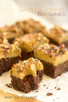 These Paleo Salted Caramel Brownies may cause severe addiction in first time tasters. User's discretion is advised! Paleo Sweets, Paleo Dessert, Delicious Desserts, Dessert Recipes, Keto Desserts, Yummy Food, Paleo Brownies, Salted Caramel Brownies, Caramel Frosting