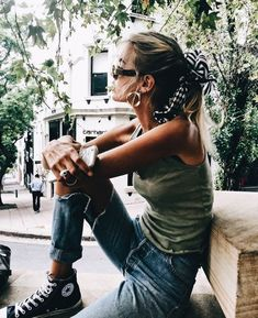 green tank, ripped jeans, converse, hair scarf