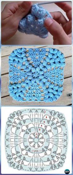 Transcendent Crochet a Solid Granny Square Ideas. Inconceivable Crochet a Solid Granny Square Ideas. Motifs Granny Square, Granny Square Crochet Pattern, Crochet Blocks, Crochet Flower Patterns, Crochet Diagram, Crochet Stitches Patterns, Crochet Chart, Crochet Squares, Crochet Designs
