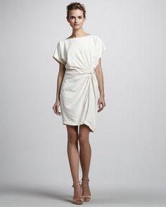 "Halston Heritage Twisted-Front Short-Sleeve Dress - Neiman Marcus:Crepe de chine.  Boat neckline.  Short dolman sleeves.  Relaxed fit.  Twisted front emphasizes waistline.  Asymmetric hem.  From shoulder to hem, approx. 34""L.  Silk; dry clean.  Imported."