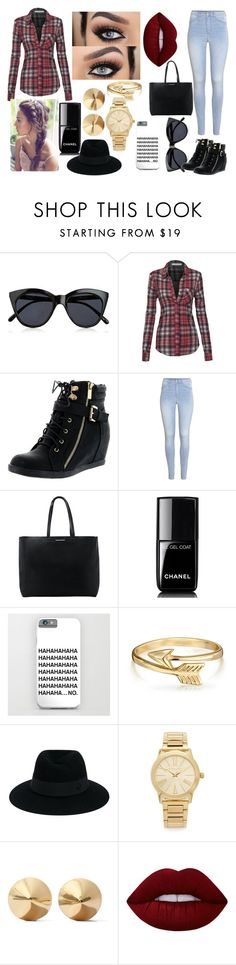 """a"" by aliciadelgado on Polyvore featuring moda, Le Specs, Top Moda, H&M, MANGO, Chanel, Bling Jewelry, Maison Michel, Michael Kors y Eddie Borgo"