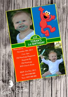 Personalised Elmo/Seasame St invitation $1.00 each printed, laminated, magnet & enveloped or digital file available for purchase. Vinyl Designs, Spaghetti Squash, Elmo, Playground, Rsvp, Projects To Try, Invitations, Printed, Digital
