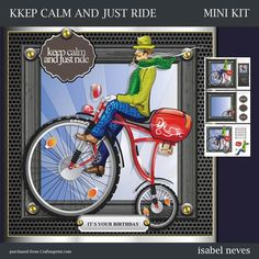 CUP677328_2073 - Keep Calm And Just Ride - Mini Kit Includes: Card Front, Mini Print & Fold Card, Card Insert, Decoupage, Several Sentiment ...