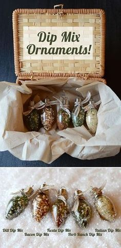 Put dip mixes in clear ornaments with recipe for happy little gifts