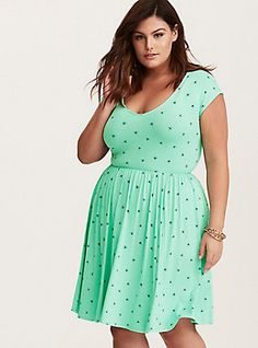 Plus Size Mint Green Bee Print Jersey Skater Dress, BEE WITH YOU