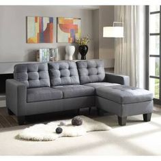 Acme Furniture - Earsom Gray Linen Sectional Sofa with Ottoman - 52775 Acme Furniture, Couch Furniture, Living Room Furniture, Furniture Ideas, Tufted Sectional Sofa, Ottoman Sofa, Black Sectional, Grey Sofas, Sofa Couch