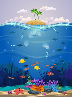 Beautiful Underwater Background With Coral Reefs, Fish And Algae More than a million free vectors, PSD, photos and free icons. Exclusive freebies and all graphic resources that you need for your projects Art Drawings For Kids, Fish Drawings, Game Background, Vector Background, Background Designs, Underwater Background, Ocean Fabric, Underwater Painting, Jungles