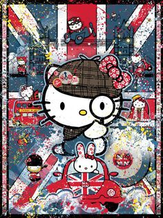 "Kitty gets her best Sherlock on to explore - ""Hello London!"" Original Art by Sean D'Anconia available at Mouche Gallery."