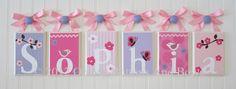 Name Blocks . Nursery Name Blocks . Nursery Decor . Baby Name Blocks . Hanging Wood Name Blocks . Bedding . M2M MiGi Pink Blossom. $16.00, via Etsy.