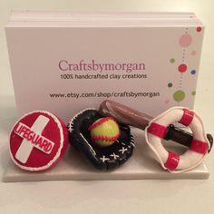 Sports fan business card holder, custom design, polymer clay
