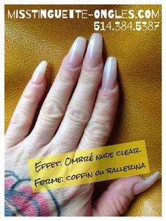 Marie-Eve, votre #technicienne en soins des #ongles a fait les siens hier #nude #clear #nails #ballerina #coffin #sns