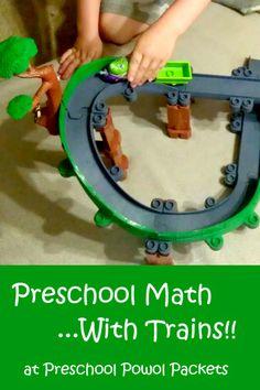 Preschool Math With Trains!!  Hands-on, play-based-learning ideas *plus* Koko Safari Playset & DVD review!! #preschool #preschoolmath
