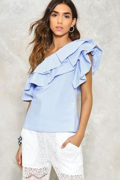Ruffle Time One Shoulder Top