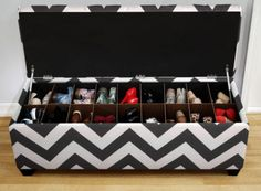 This chevron patterned storage bench offers a place for your family to sit while they take off their shoes, and a space where they can stash them. $429, The Sole Secret.
