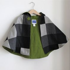 Wool Patchwork Hooded Children's Cape for boys or by aprilscott, $50.00