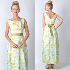 Vintage 60s 70s Blue Yellow Cocktail Maxi Dress by thekissingtree