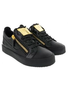 Giuseppe Zanotti Double Zipper & Lace-up Leather Sneakers In Black Best Sneakers, Casual Sneakers, Leather Sneakers, All Black Sneakers, Giuseppe Zanotti Sneakers, Zanotti Heels, Fit Body Boot Camp, Versace Shoes, Sports Footwear