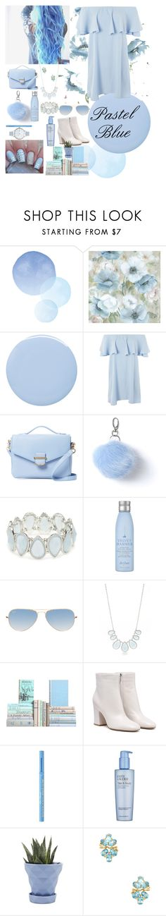 """Pastel Blue 💙"" by xxcutecookiexx on Polyvore featuring Deborah Lippmann, Topshop, Cynthia Rowley, Miss Selfridge, Kim Rogers, Drybar, Ray-Ban, Too Faced Cosmetics, Estée Lauder and Chive"