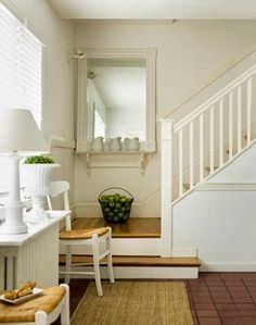 Making Space: Radiator Toppers: I only really like the marble saddles. It is classy. Radiator Shelf, Radiator Cover, Radiator Ideas, Urban Cottage, Cottage Living, Stair Landing, Making Space, Wood Stairs, Living Room Inspiration