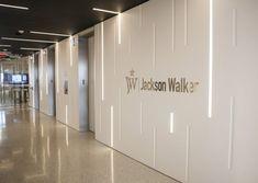 Jackson Walker at Hall Arts Plaza Open Office Design, Medical Office Design, Office Interior Design, Office Interiors, Facade Design, House Design, Living Room Wall Designs, Office Entrance, Hospital Design