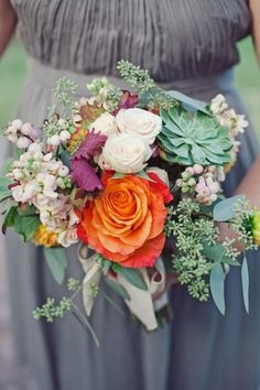 Berry Succulent and Rose Bouquet