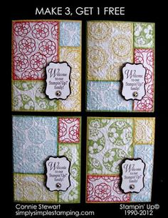 Make 4 cards with just (4) quarter sheets of cardstock.  Stamp, cut, and create!  Simple.