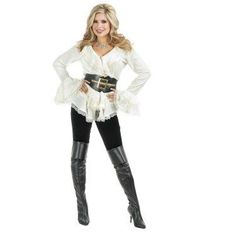 In the mood to DIY your pirate ensemble? Then this South Seas Adult blouse is an essential item for you! This off-white blouse has dramatic bell sleeves and a lace trimmed finish, giving it a vintage flair. Pair this top with a thick black belt and knee high boots. You'll be on your way to finding hidden treasure in no time.