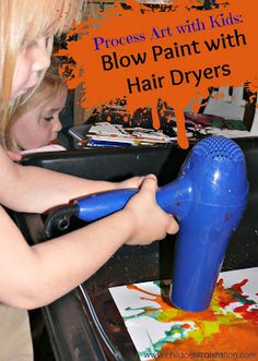 More Blow Dryer Art | Child Central Station- I think hair dryers may be our new favorite paint brush around here! The giggles that accompany this activity are priceless!