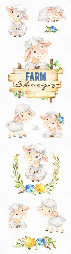 Farm. Sheeps. Watercolor country clipart little lamb floral