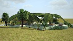 "Extravagant Villas by Vasily Klyukin  ""Palms Oasis"" canopies over its inhabitants with giant, leaf-like structures, protecting those within a tropical and shady shell."